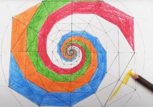 Geometría – Colorear ahora el espiral generado a partir de hexágonos anidados
